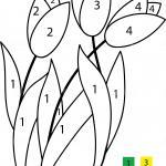 Painting by numbers for children - flowers