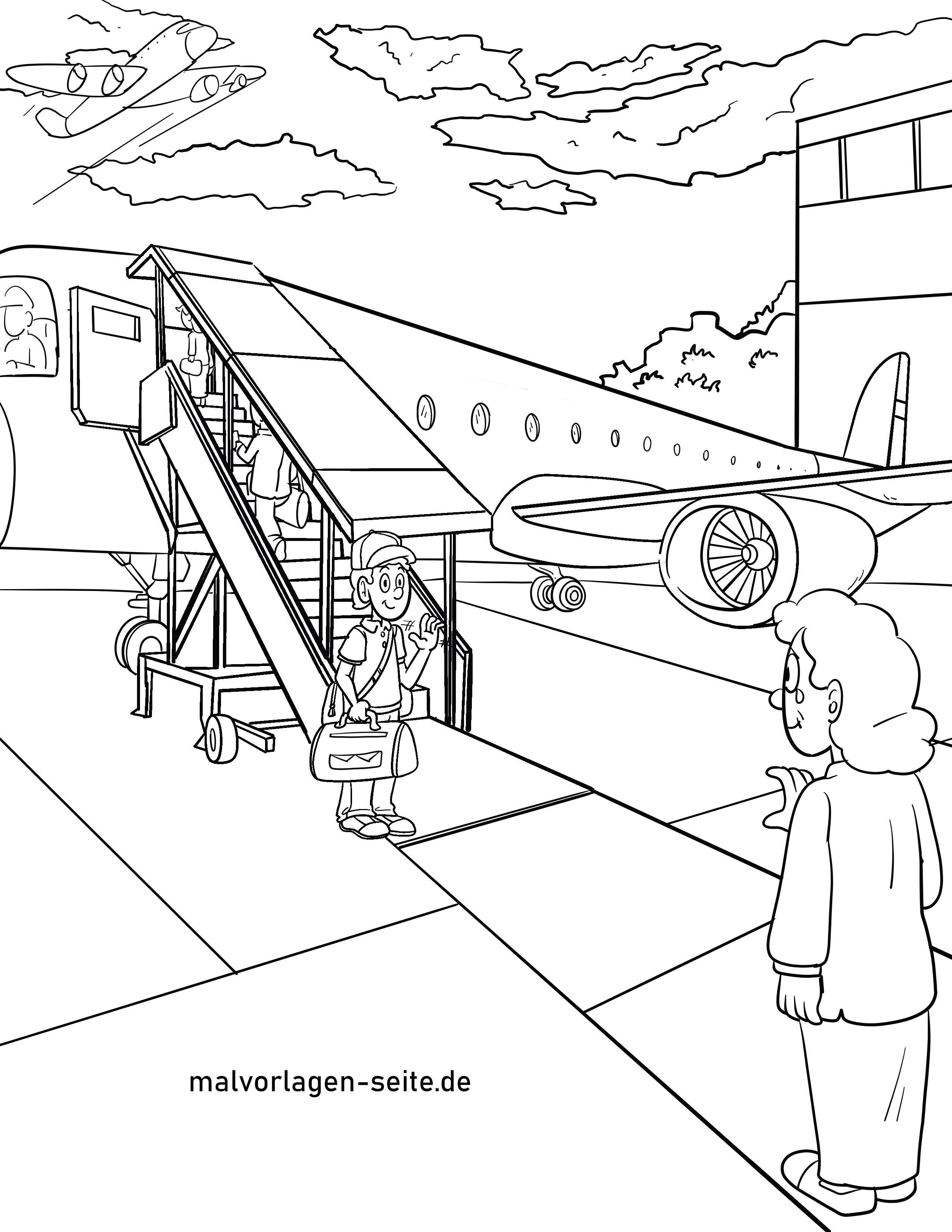 malvorlage flugzeug einsteigen boarding  kostenlose