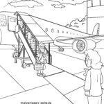 Malvorlage Flugzeug einsteigen Boarding
