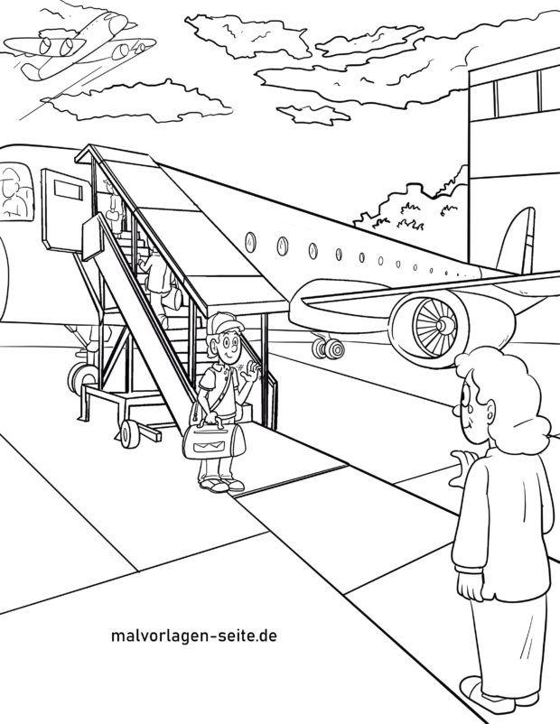 Malvorlage ins Flugzeug einsteigen