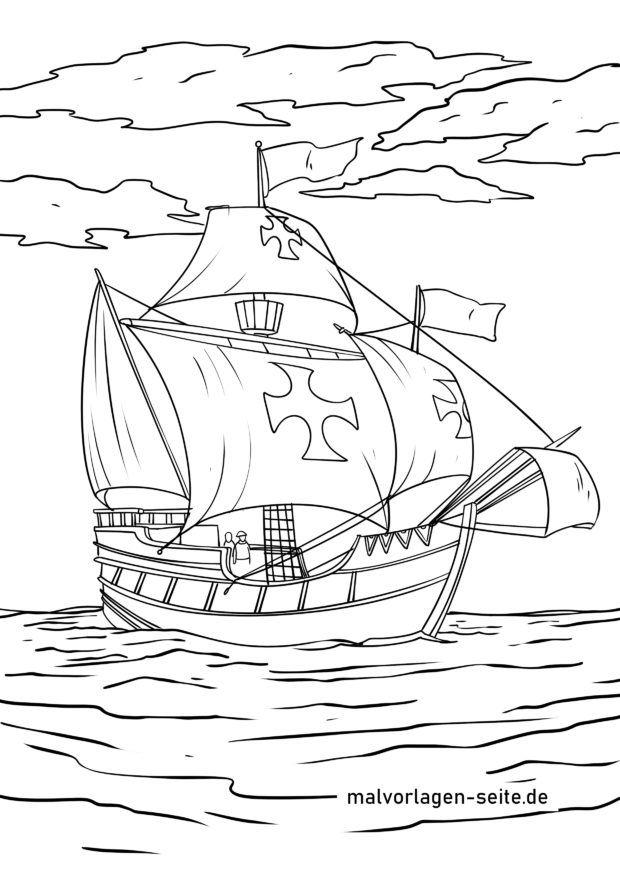 Malvorlage Christopher Columbus - Santa Maria