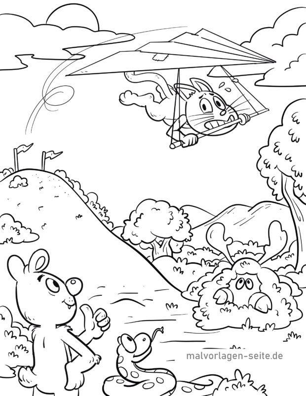 Malvorlage Drachenfliegen / Drachenflieger