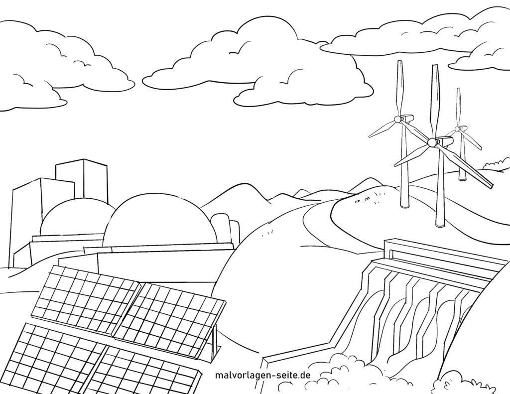 malvorlage energiegewinnung  energie umweltschutz