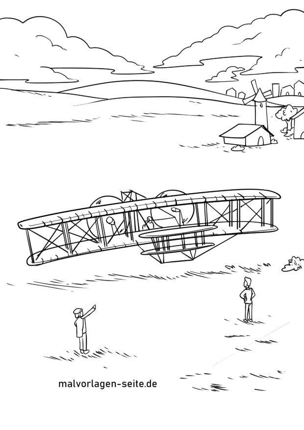 Malvorlage Erster Flug Brüder Wilbur & Orville Wright am 17. Dezember 1903