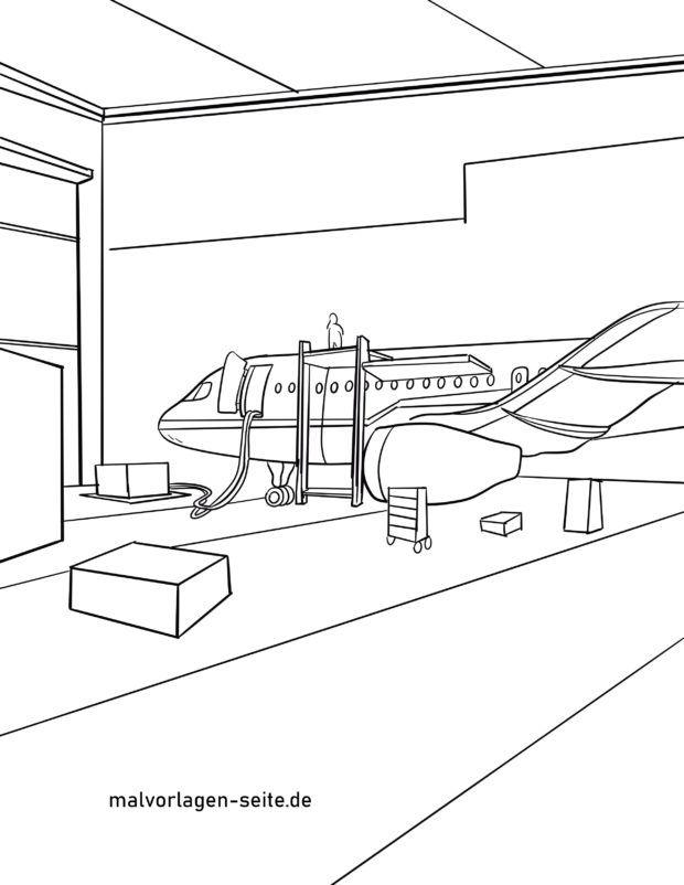 Malvorlage Flugzeug im Hangar