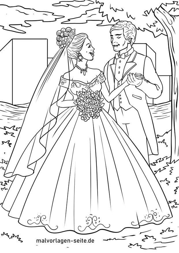 Malvorlage Hochzeit Brautpaar