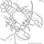 Coloring page lobster Animals on the water
