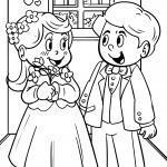 Malvorlage Kinder spielen Hochzeit zum Ausmalen