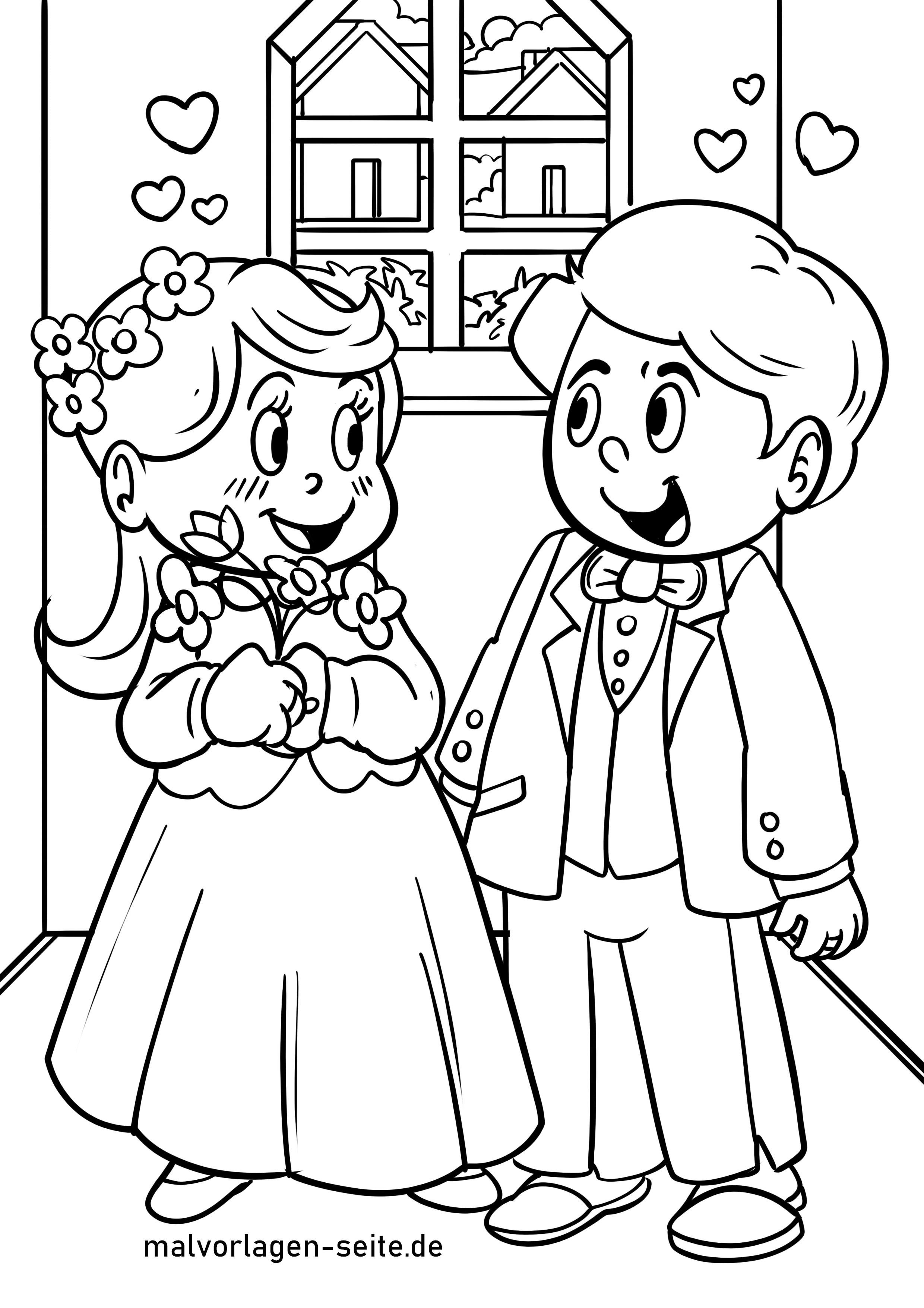 malvorlage hochzeit heiraten - ausmalbilder kostenlos
