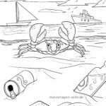 Coloring page crab Animals on the water