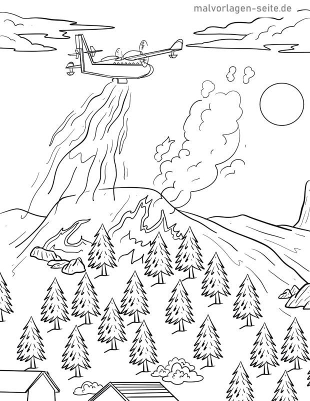 Coloring page firefighting aircraft