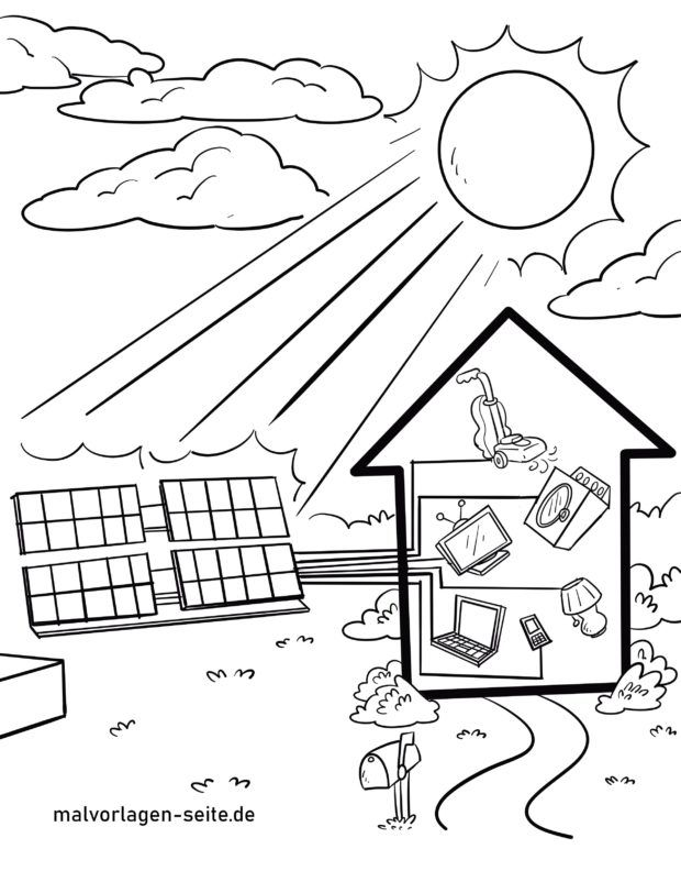 Coloring page solar plant / energy from sun