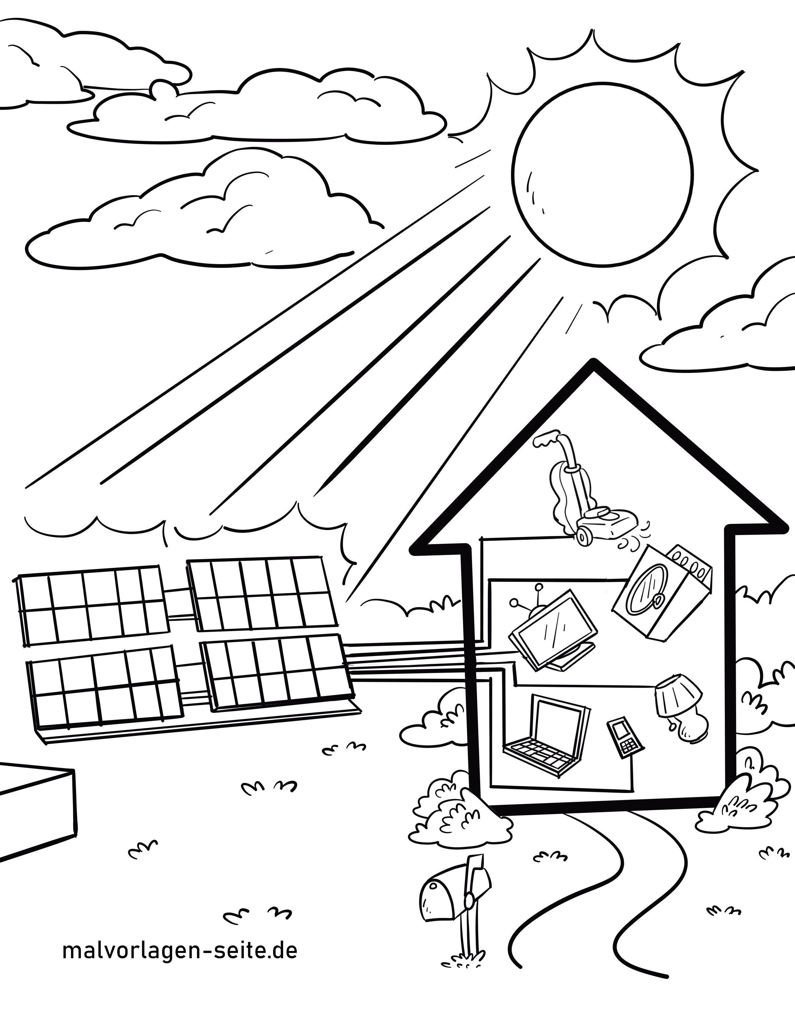 Malvorlage Solaranlage  Energie Umweltschutz - Kostenlose
