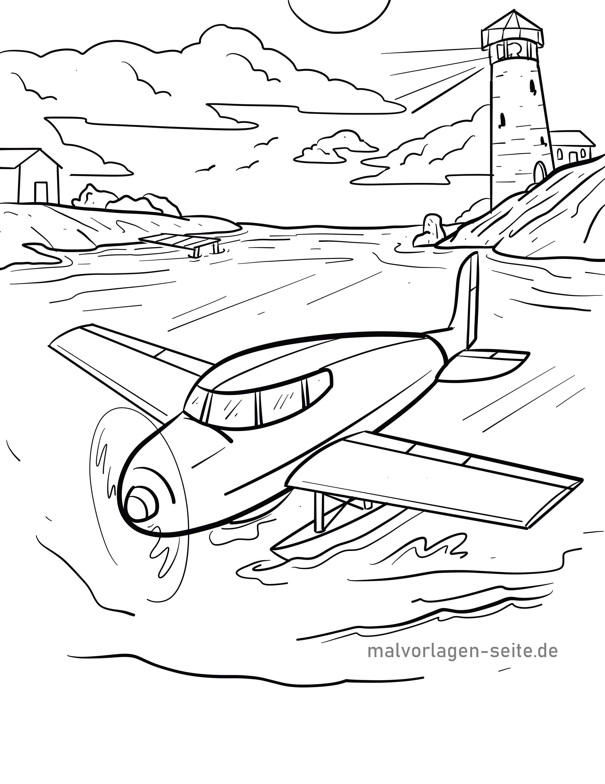 malvorlage wasserflugzeug  flugzeug  kostenlose ausmalbilder