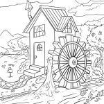 Coloring page mill wheel / water wheel water power