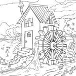 Coloring page mill wheel | Energy environmental protection