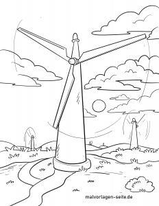 Coloring page wind turbine / wind turbine for coloring