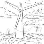 Coloring page wind turbine | Energy environmental protection