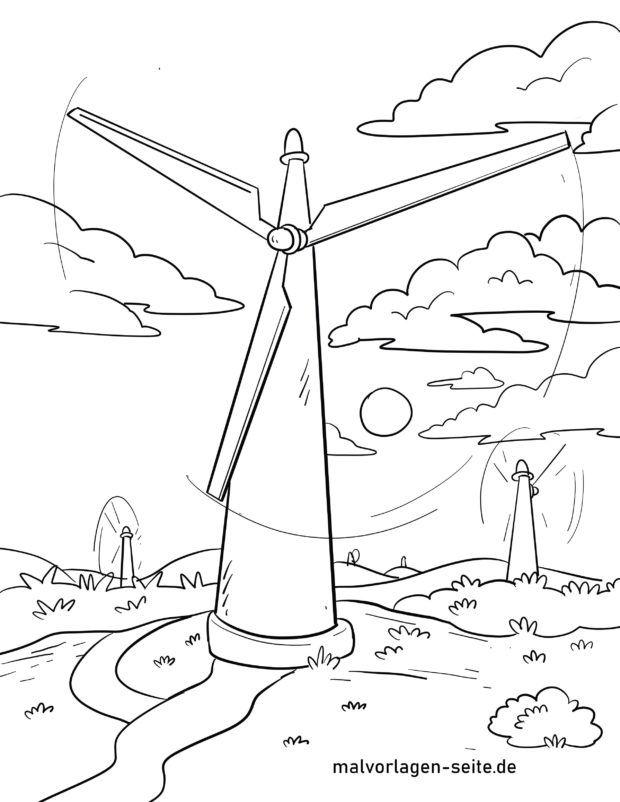 Väritys sivu tuuliturbiini / tuulivoimala