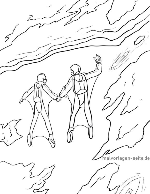 Coloring page wingsuit flying