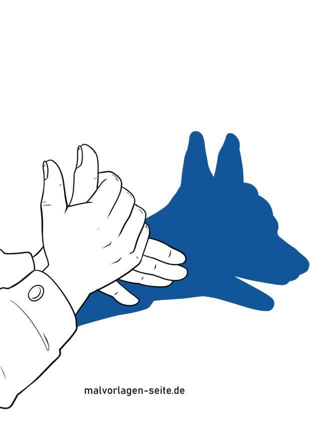Schattenfigur / Handschatten Hund