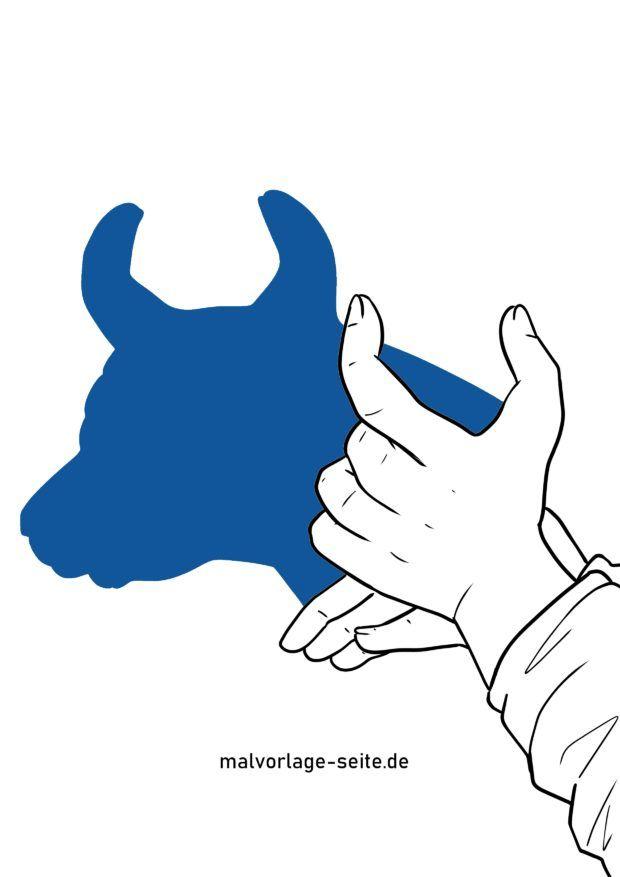 Schattenfigur / Handschatten Stier