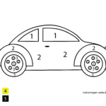 Painting by numbers Car for children to color