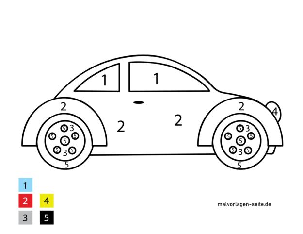 צבע לפי מספרים לילדים - מכונית