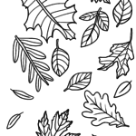Coloring page autumn leaves | Autumn seasons