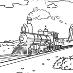 Coloring page steam locomotive Wild West for coloring