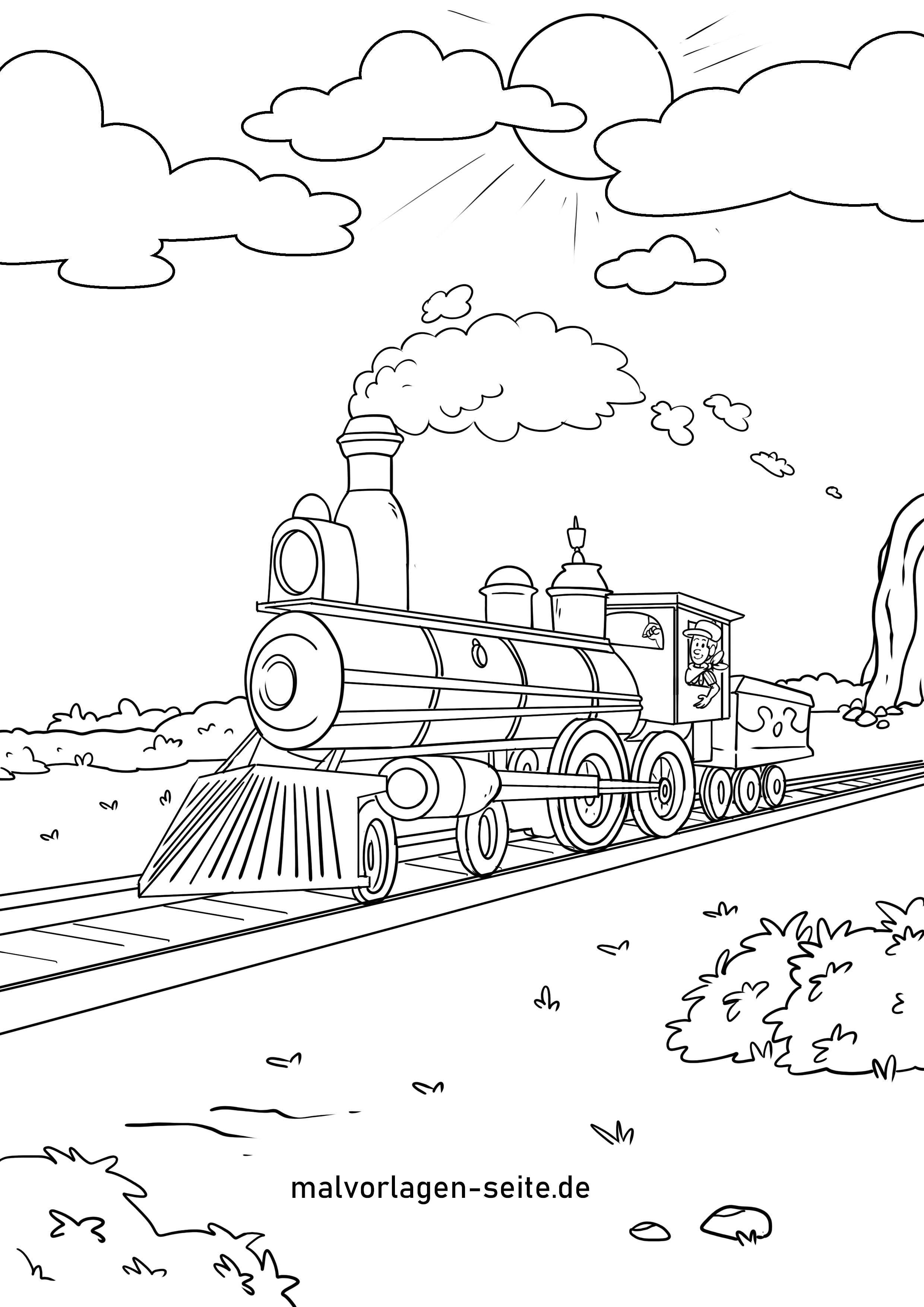 ausmalbild eisenbahn kostenlos | kinder ausmalbilder