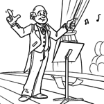 Coloring page Conductor in conducting for coloring