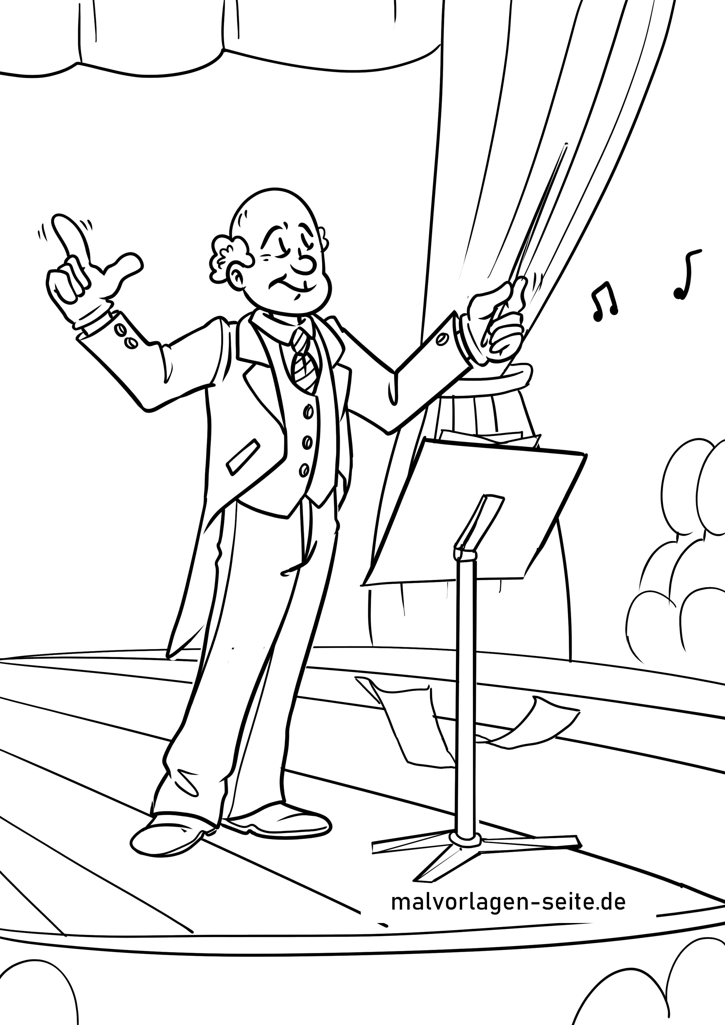 malvorlage dirigent  musik berufe  ausmalbilder