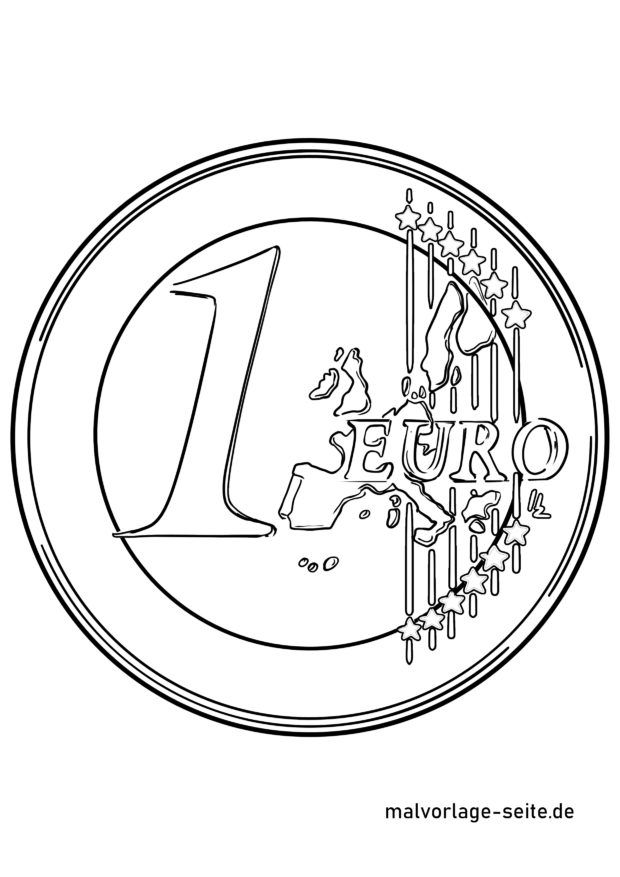 Coloring page Euro coin