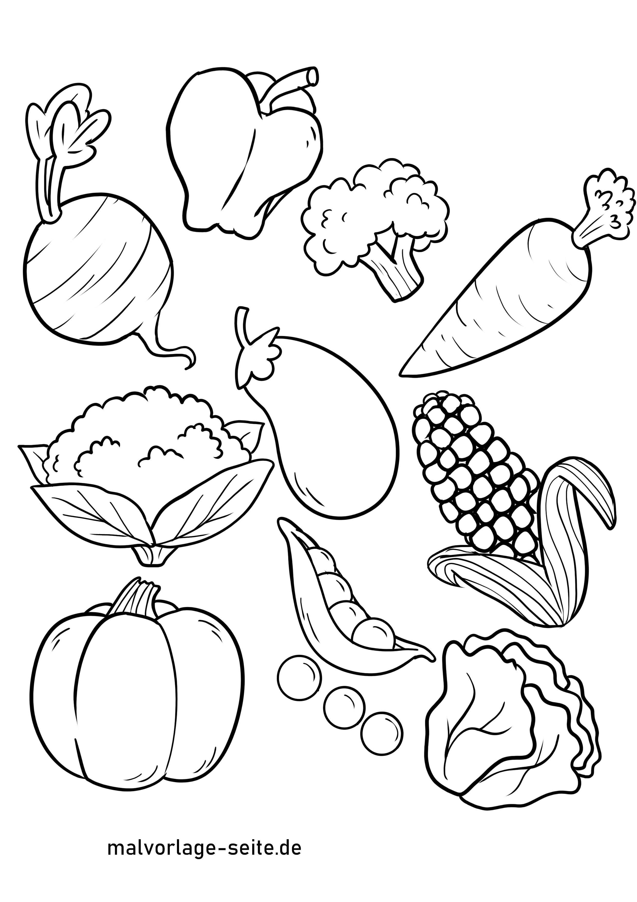 Malvorlage Gemüse  Essen - Kostenlose Ausmalbilder