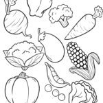 Väritys sivu vihanneksia syödä