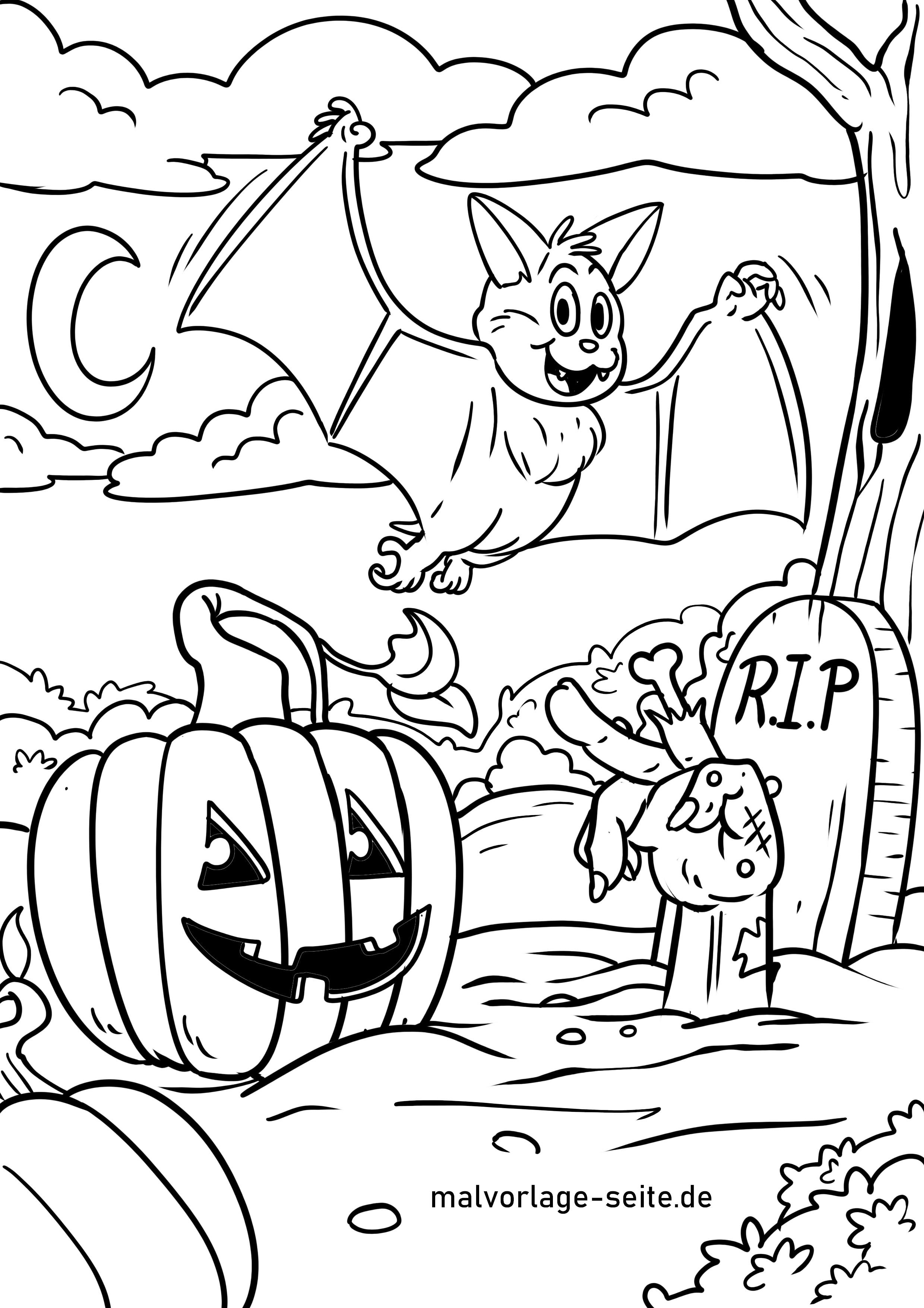 malvorlage halloween feiern  feiertage  kostenlose