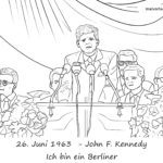 Coloring page John F. Kennedy speech | History Germany