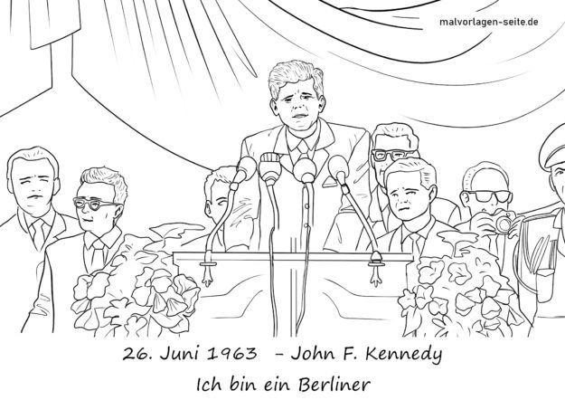 Malvorlage Rede John F. Kennedy am 26.6.1963