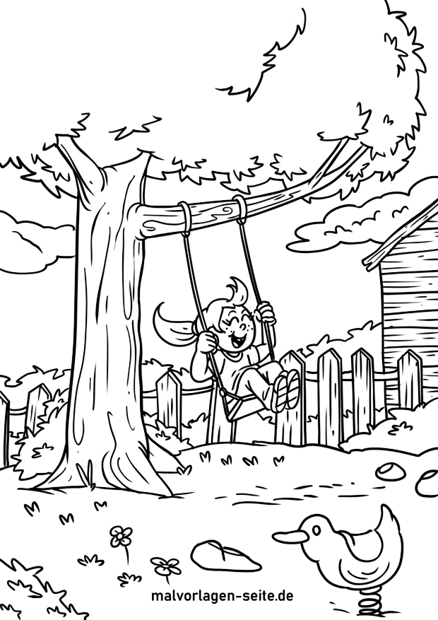 Coloring page child on swing