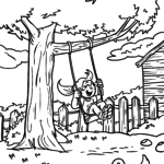Coloring page child on swing for coloring