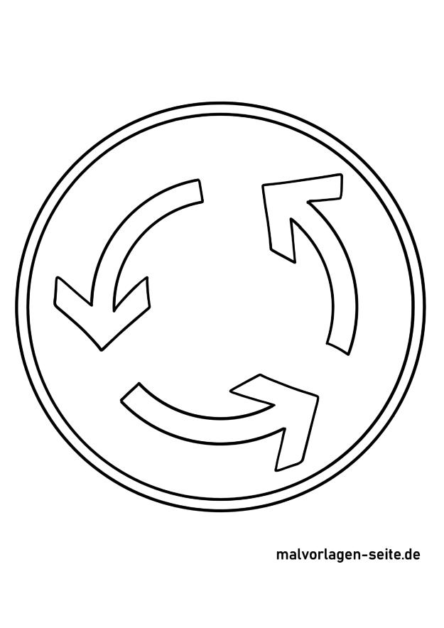 Malvorlage Verkehrszeichen Kreisverkehr