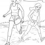 Coloring page running on the beach for coloring