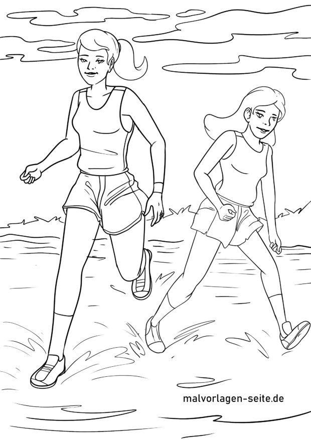 Malvorlage Laufen am Strand für die Fitness