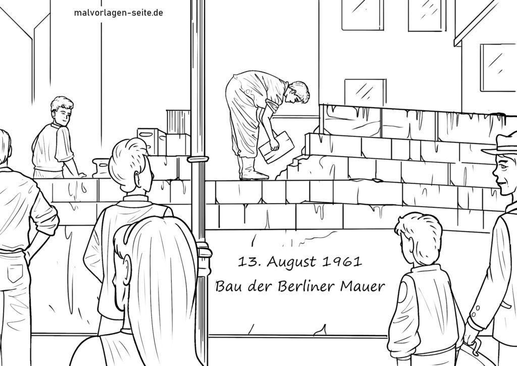 malvorlage bau der mauer  geschichte deutschland