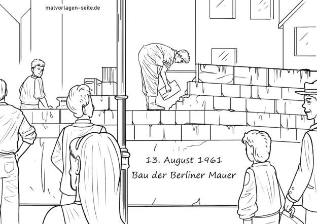 Coloring page construction of the wall 13.8.1961