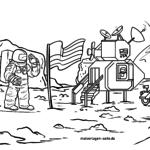Malvorlage Mondlandung | Geschichte Weltraum