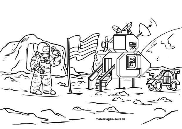 Malvorlage Erste Mondlandung am 21. Juli 1969 MEZ