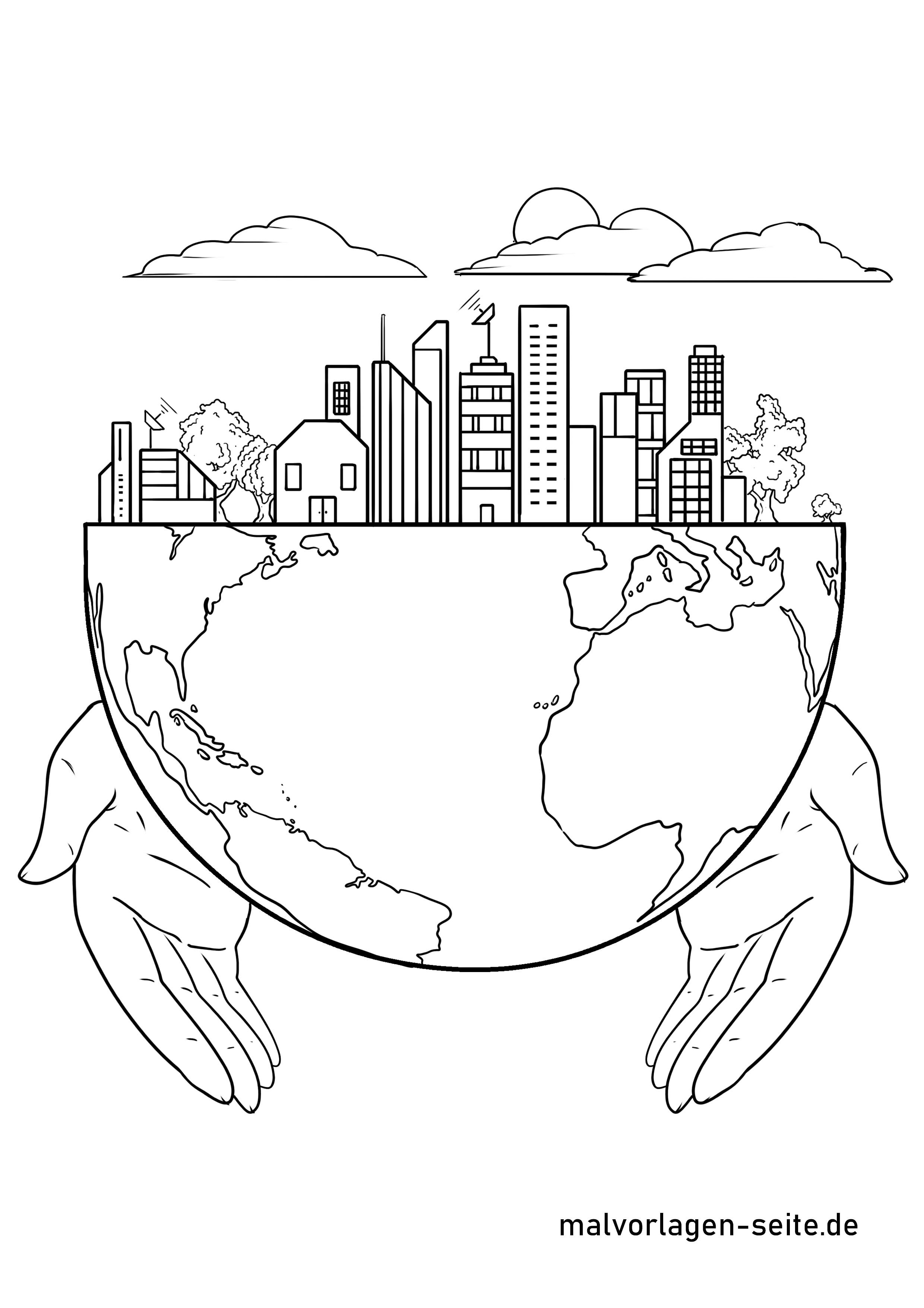 Malvorlage Nachhaltigkeit  Umweltschutz - Kostenlose Ausmalbilder