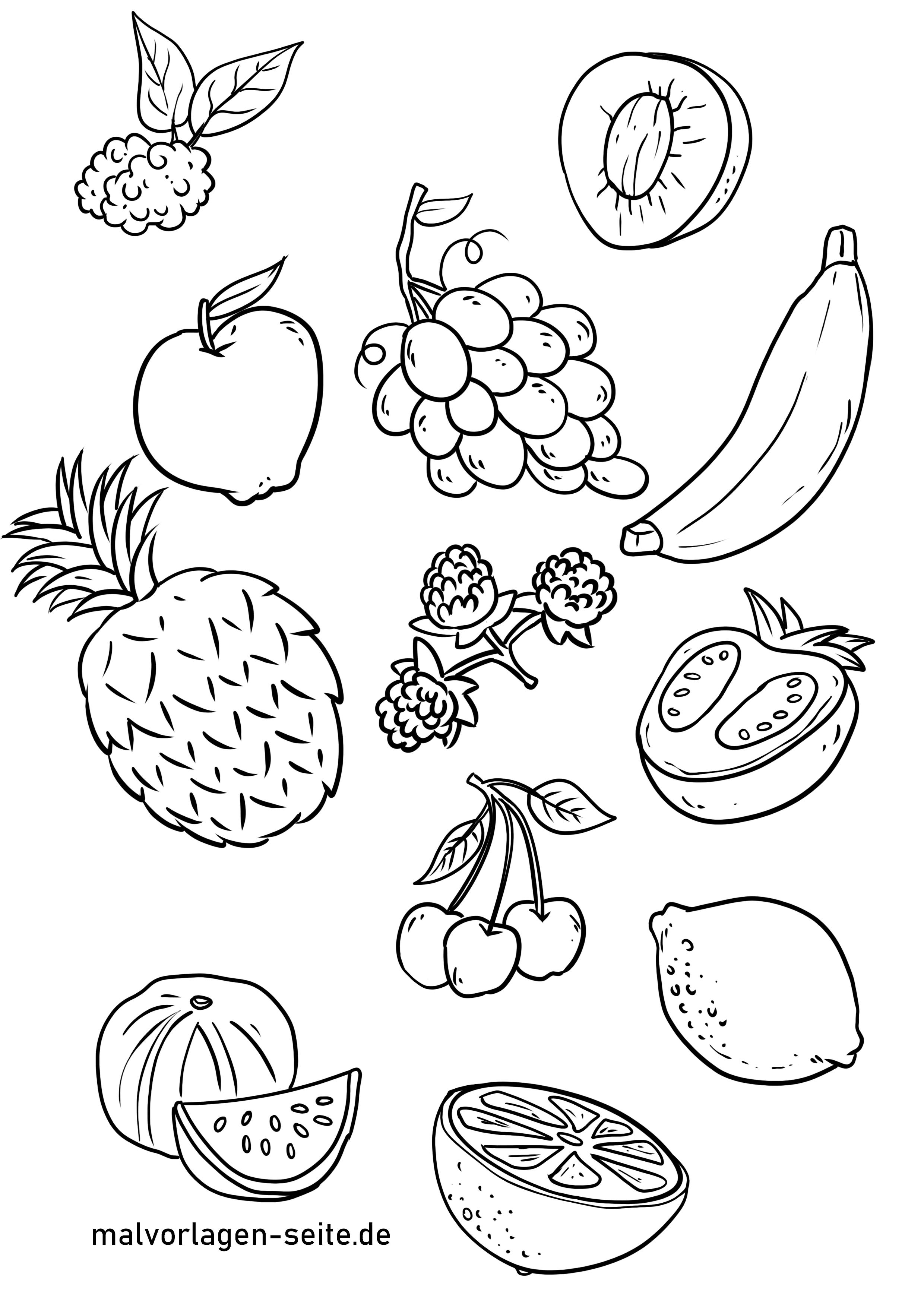 Ausmalbilder Obst - Essen und Trinken kostenlos herunterladen